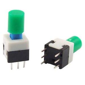 6 pinos verde/vermelho/amarelo/azul/preto/branco/cinza tampa redonda tátil tato botão de bloqueio/desbloquear 8x8mm x 17mm