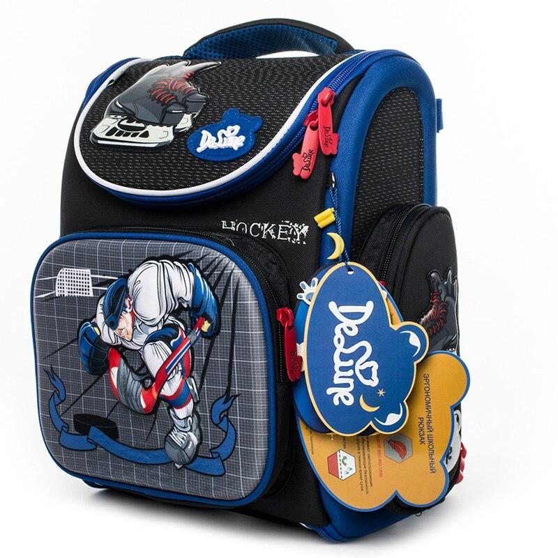 Delune New Cartoon School Backpack For Boys Girls School Bag Children's Orthopedic Backpacks Car Bear Mochila Escolar Grade 1-5