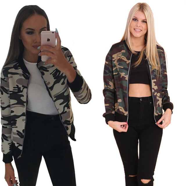 a616bea44d2 Women Retro Camo Bomber Jacket Full Sleeves Jackets Stand Collar Zipper  Autumn Ladies Casual Outwear