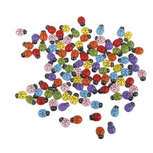100pcs Mini Ladybugs Shaped Stickers Miniature Ornament DIY Kit for Fairy Garden Dollhouse Plant Decor (Mixed Color)(China)