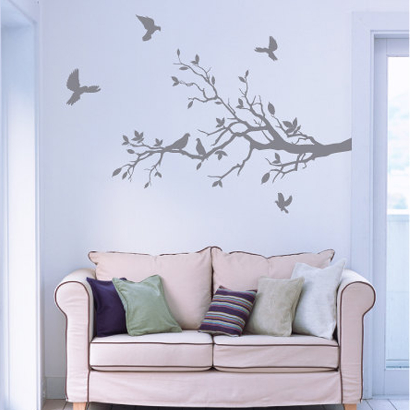 Tree branch Wall Decal with Petty Doves,Vinyl Mural Stickers ...
