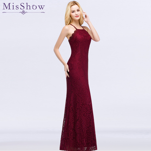 606721074a Elegant Burgundy Lace Mermaid Long Evening Dresses 2019 Sleeveless cross  back Sash vestido longo Formal Party Dress Prom Gowns