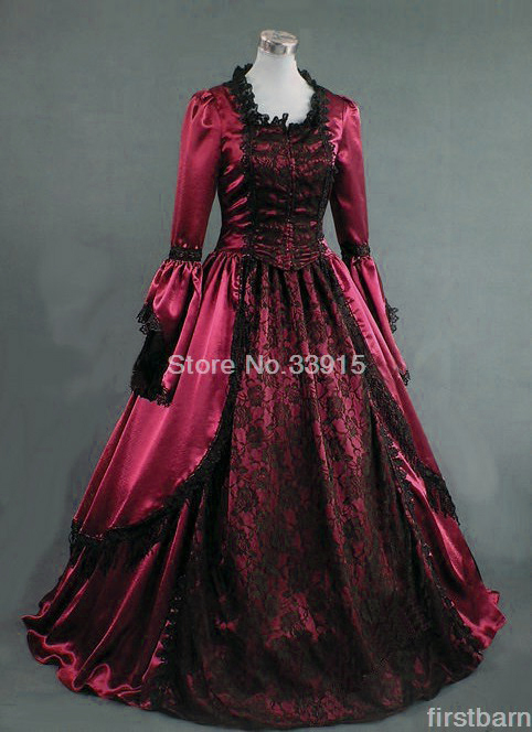 Dark Red Fashion Flare Long Sleeve Lace Dress Victorian Era Ball Gown Gothic Victorian Party Dress For Women