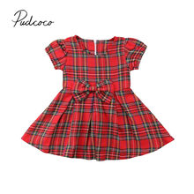 8ddced79b46 2018 Brand New Newborn Infant Baby Girl Cute Princess Dress Bow Red Plaid  Knee-Length Dress Checked Christmas Party Outfit 0-24M