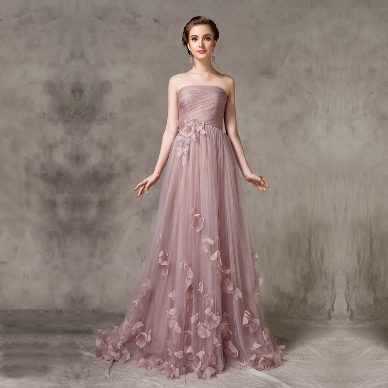 2015 Bridemaid Dress Tulle Dreamlike Elegant Nude color Appliques A ...