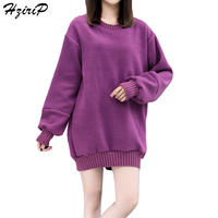 HziriP Harajuku Sweatshirts Solid Color Women Hoodies 2017 Loose Outwear Autumn New Arrival Tops Female Pullover