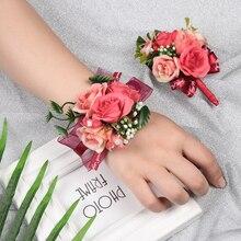 Novo lindo casamento corsages e boutonnieres broche rendas folhas de pulso corsages casamento flores festa de casamento supples