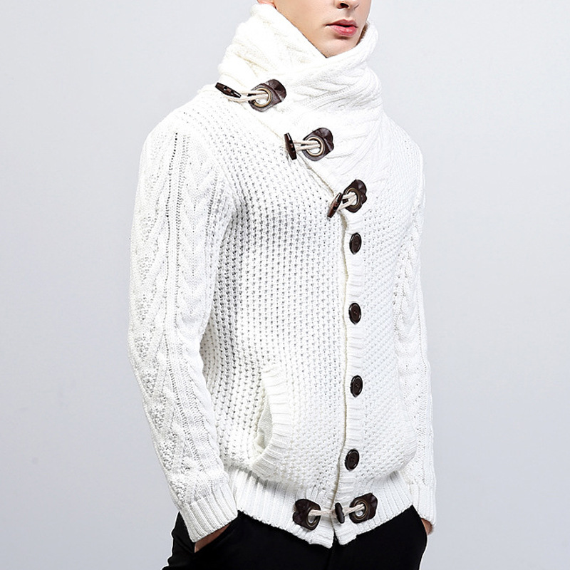 Mens  Turtleneck Male Cattle Horn Buckle Coarse Wool Twisted High Collar Long Sleeve Thickened India Cardigan Sweater
