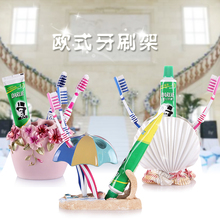 Resin toothbrush holder wash storage on tooth brushing couples toothbrush rack tooth paste tube seat shukoubei