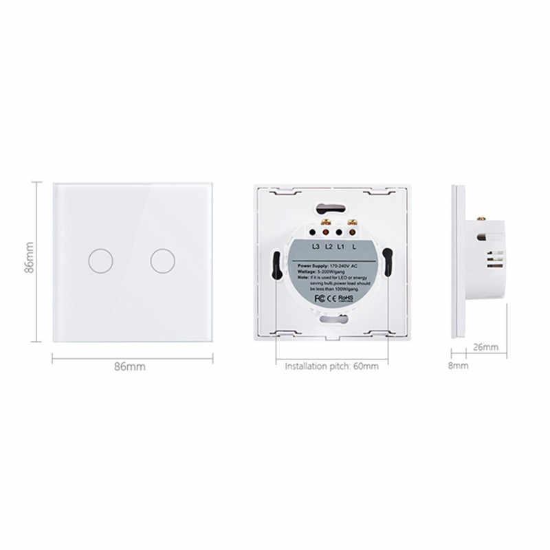 1/2/3 Gang 1 Cara RF433 Remote Switch Kontrol Panel Kaca Kristal Lampu LED Layar Sentuh Tombol uni Eropa Inggris AC 110 V-240 V Sentuh Senso