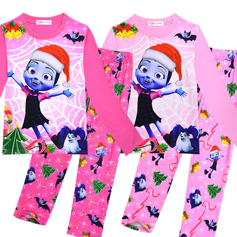 Christmas baby girls Vampirina Pajamas 2pcs set Vampirinas clothing set Trolls pajamas Two-piece Set Autum children clothes S059