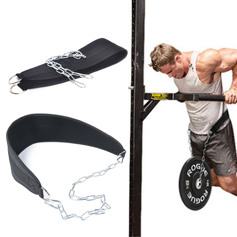 Gym Training Pull Up Dip Dipping Belt Body Building Weight Lifting /& Chain