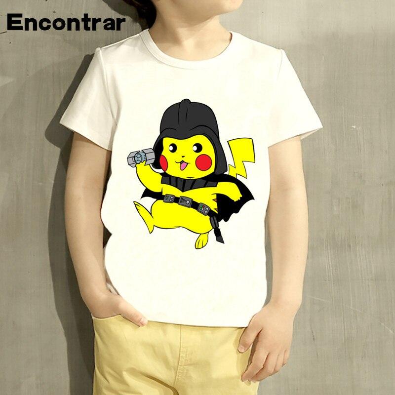 Kids Pikachu Darth Vader/Doctor Who/Zel Design T Shirt Boys/Girls Great Casual Short Sleeve Tops Children Cute T-Shirt,HKP5106
