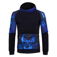 The North Of Bodybuilding Bone Print Sweatshirt Long Sleeve Casual Men 3D Hoodie Pullovers Black Winter