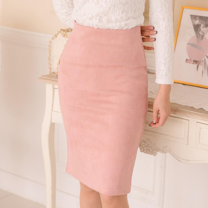 10 Colors Size S M L Xl Women Winter Solid Suede Multi Package Hip Pencil Midi Skirt Autumn Winter Bodycon Femininas