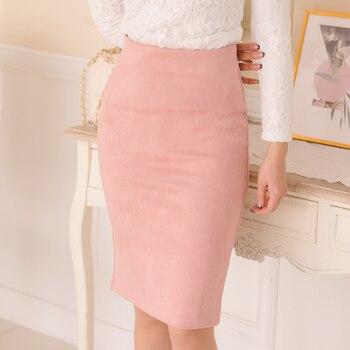 85b6e4e6 10 colors size S M L XL 2018 Women Winter Solid Suede Multi Package Hip  Pencil Midi Skirt Autumn Winter Bodycon Femininas