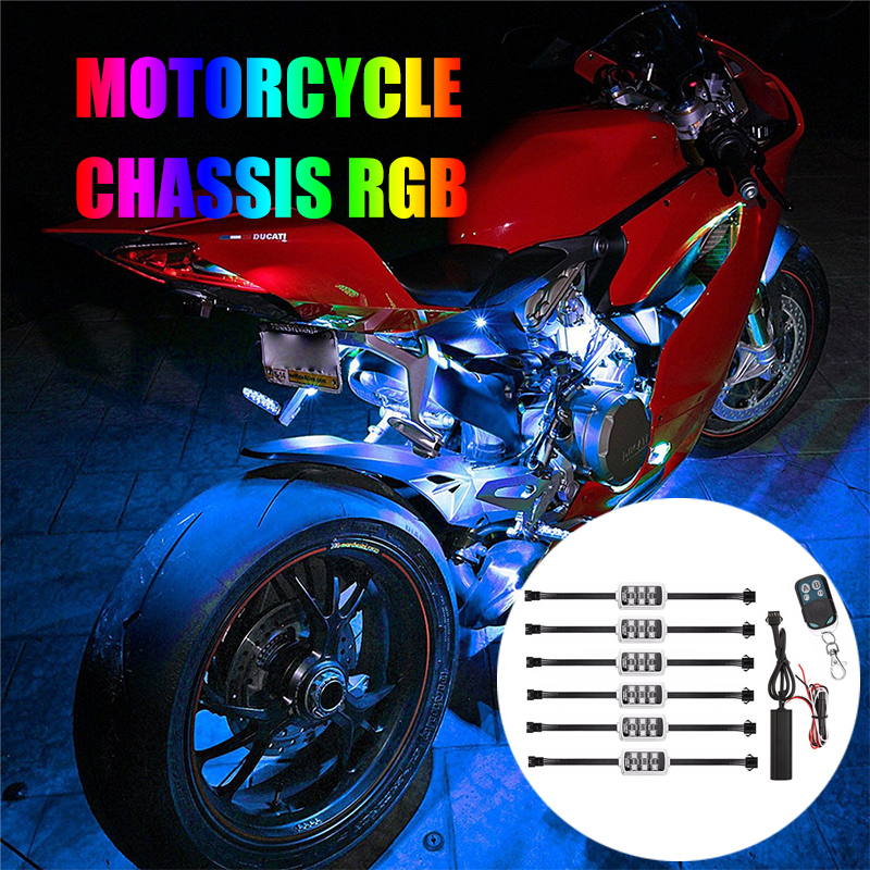 Colorful 6 in 1 RGB Motobike Atmosphere Decor Light With Remote Control Motorcycle Truck LED RGB Decor Motorcycle Night Light