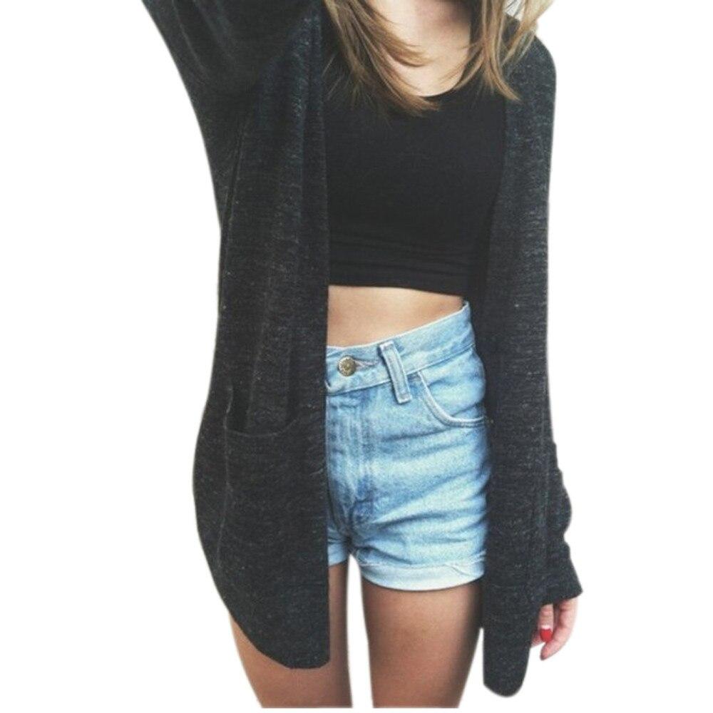 Women Long Sleeve Knitted cardigan women Loose Sweater Outwear ...