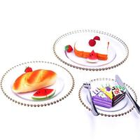Glass Dinner Plates Silver Serving Tray Party Wedding Bar Hotel Buffet Tray Cake Fruit Plat Bowl
