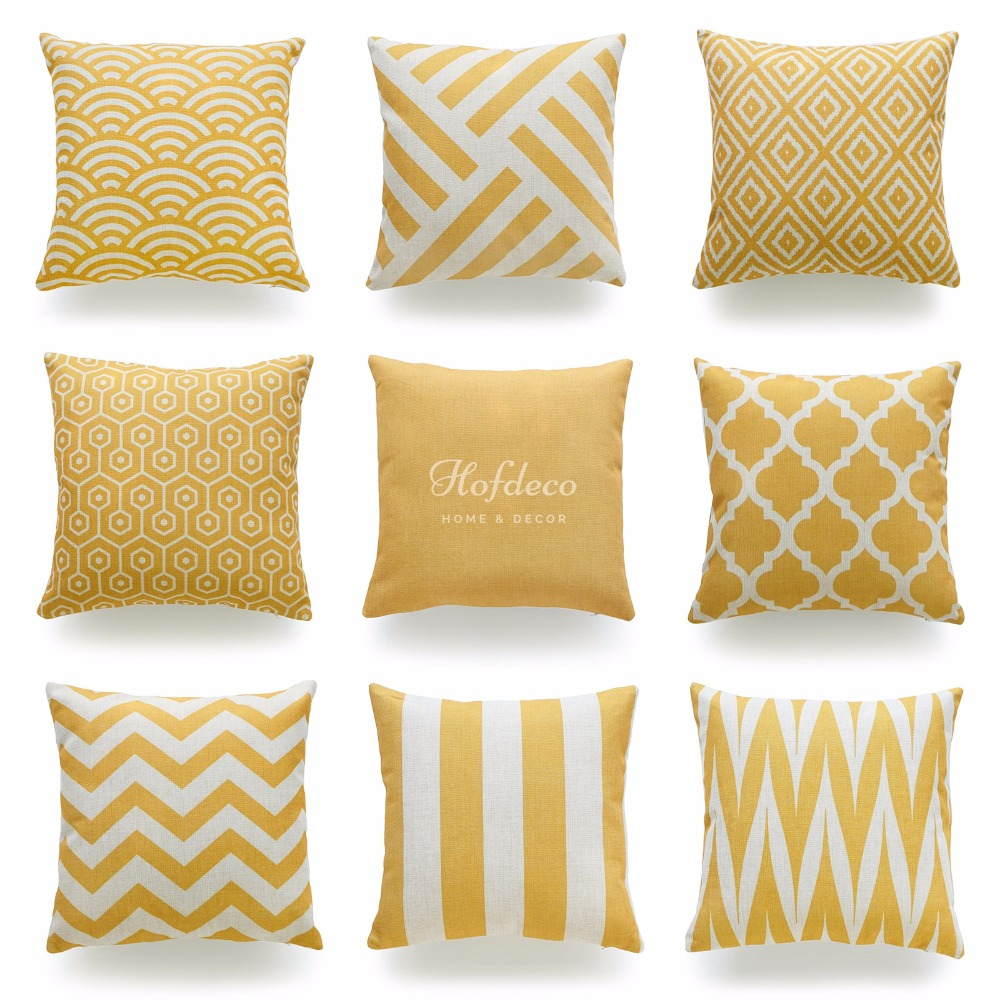 Aliexpress.com : Buy Decorative Throw Pillow Case Mustard Yellow Geometric Striped Zigzag ...