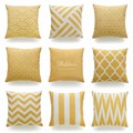 Decorative Throw Pillow Case Mustard Yellow Geometric Striped Zigzag Chevron Cotton Linen HEAVY WEIGHT FABRIC Sofa Cushion Cover