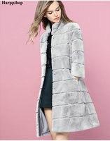 100cm 6XL Plus size 2017 real natural rex rabbit hair fur coat colors women's long design winter warm outwear female overcoat