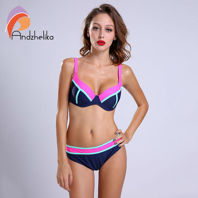 5b44f733b02 Andzhelika Newest 2018 Bikinis Women Swimsuit Sexy Patchwork Plus Size  Swimwear Large Cup Bathing Suit Monokini