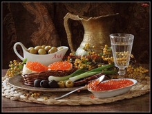 Embroidery Counted Cross Stitch Kits Needlework   Crafts 14 ct DIY Arts Handmade Decor   Still Life of Olives and Garlics