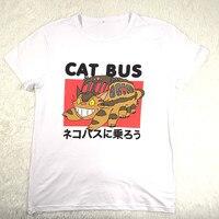 Hillbilly Catbus Cute Funny Japanese Fashion Top Kawaii Humor Women Summer Top T Shirt Model Harajuku