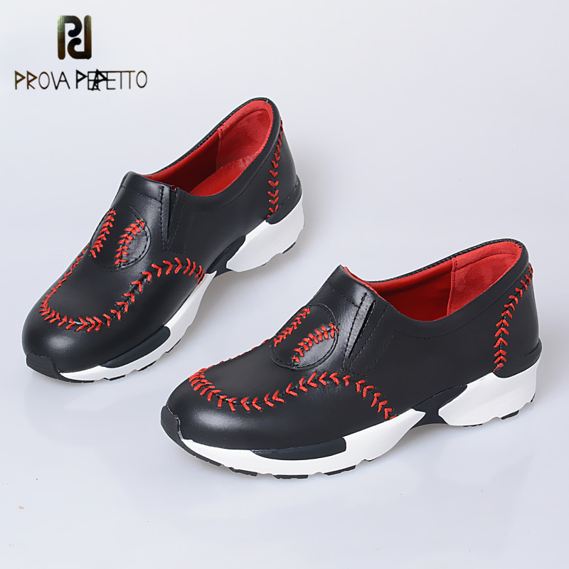 Prova Perfetto Leisure Style Baseball Sewing Decoration Wedge Bottom Shoes Mixed Color Heighten Shoes For Campus Girls