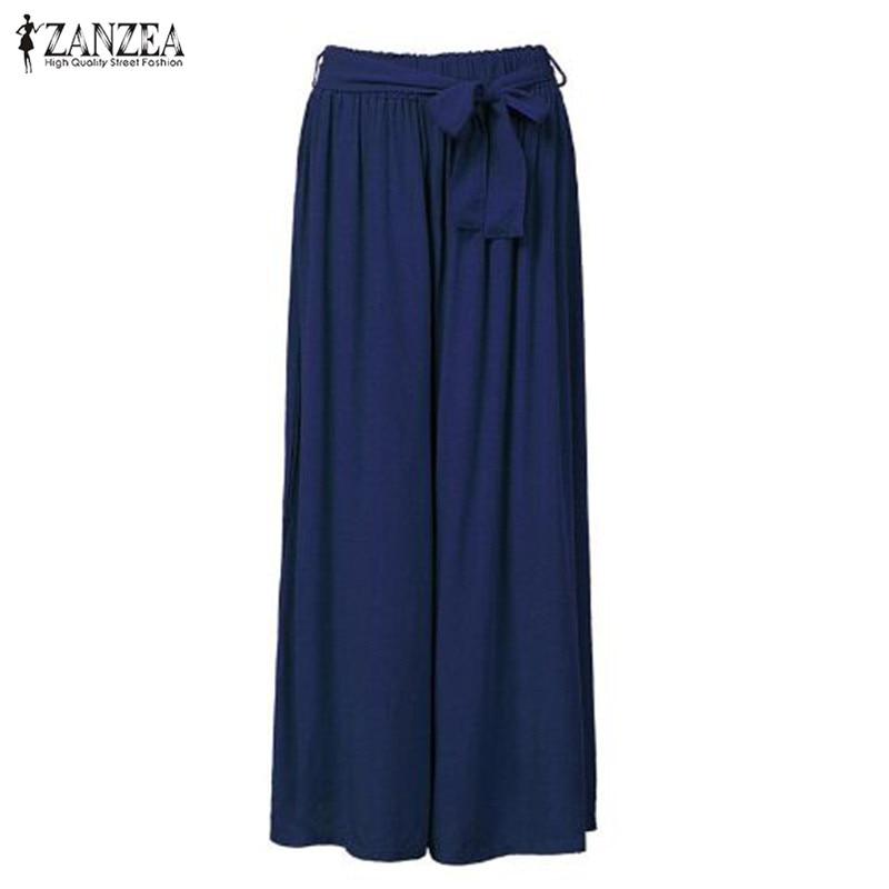 2018 Women Wide Leg Pants Casual Loose Vintage Elastic Waist Trousers Casual Cotton Oversized Solid Long Pants Plus Size 6