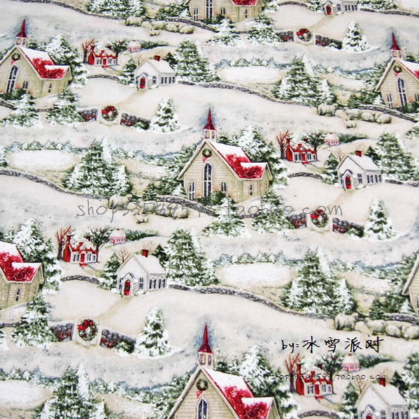 105X100cm Country Church Snow Green Pine Cotton Fabric For Christmas Day Decoration Patchwork DIY AFCK640 In From Home Garden On Aliexpress