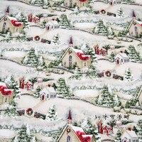 105x100 cm país Iglesia nieve Pino verde algodón Telas para Navidad día decoración patchwork diy-afck640