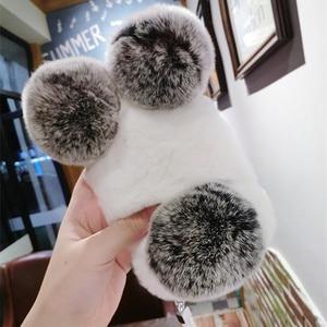 Image 3 - 高級パンダウサギの毛皮ケース11 12 x xs最大xr 8 7プラス6s 6プラス5 5sかわいい漫画暖かいふわふわの毛ぬいぐるみケースカバー