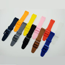 цена на Multicolor 17mm 19mm Silicone Rubber Watch Band Straps For Men Women Watches Swatch Black White Navy Rubber Strap plastic buckle