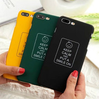 100pcs Lot Wholesale Buzzwords Keep Clam And Put A Smile On Matte Cell Phone Cases For