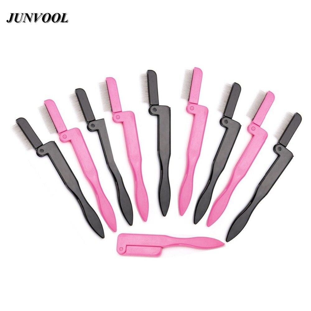10 pièces acier sourcils cils peigne Extension brosse pliable métal peigne fournitures de beauté sourcils brosse cils peigne maquillage brosses outils