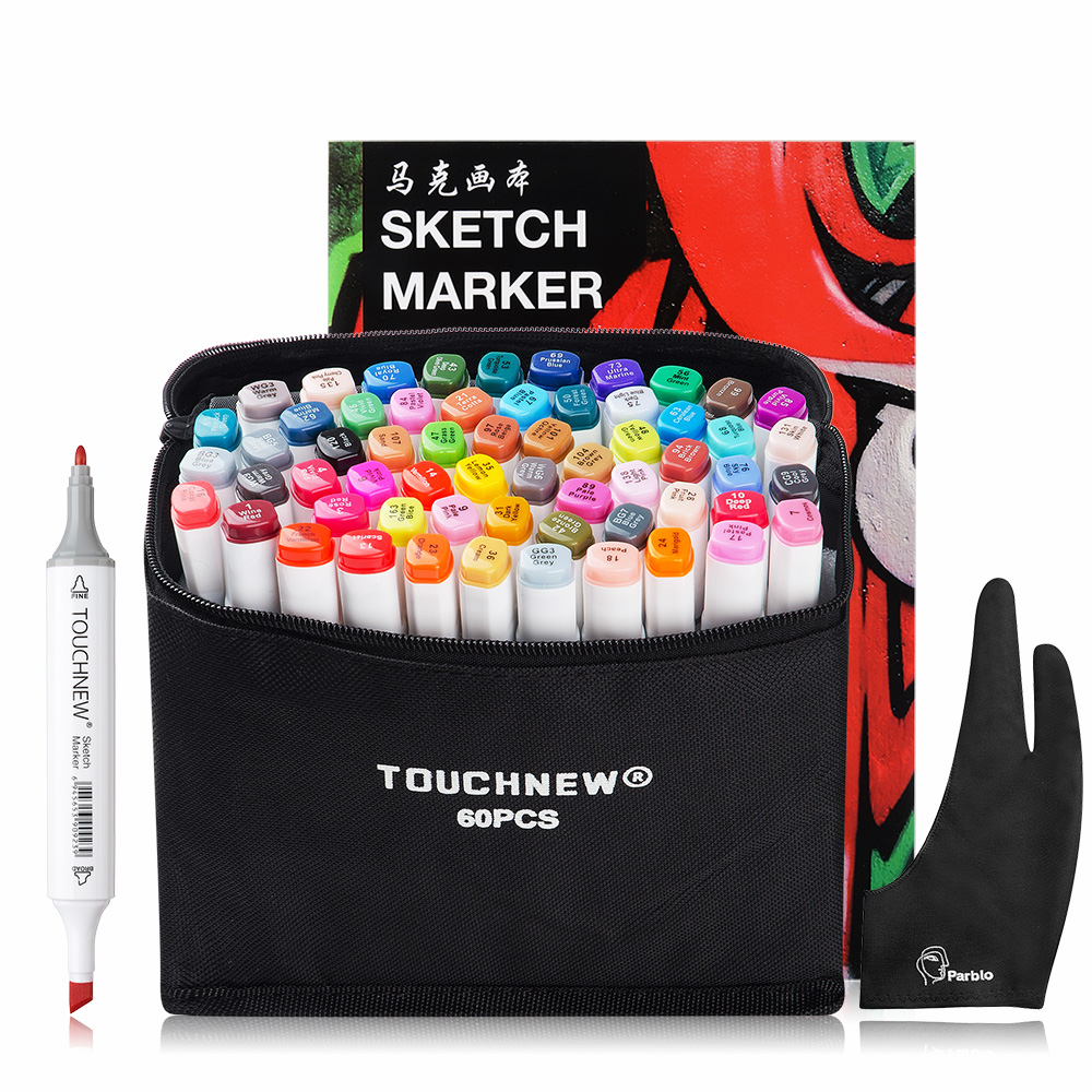TOUCHNEW 60 Colors Artist Dual Headed Marker Set Animation Manga Design School Drawing Sketch Marker Pen Art Supplies touchnew 80 colors artist dual headed marker set animation manga design school drawing sketch marker pen black body