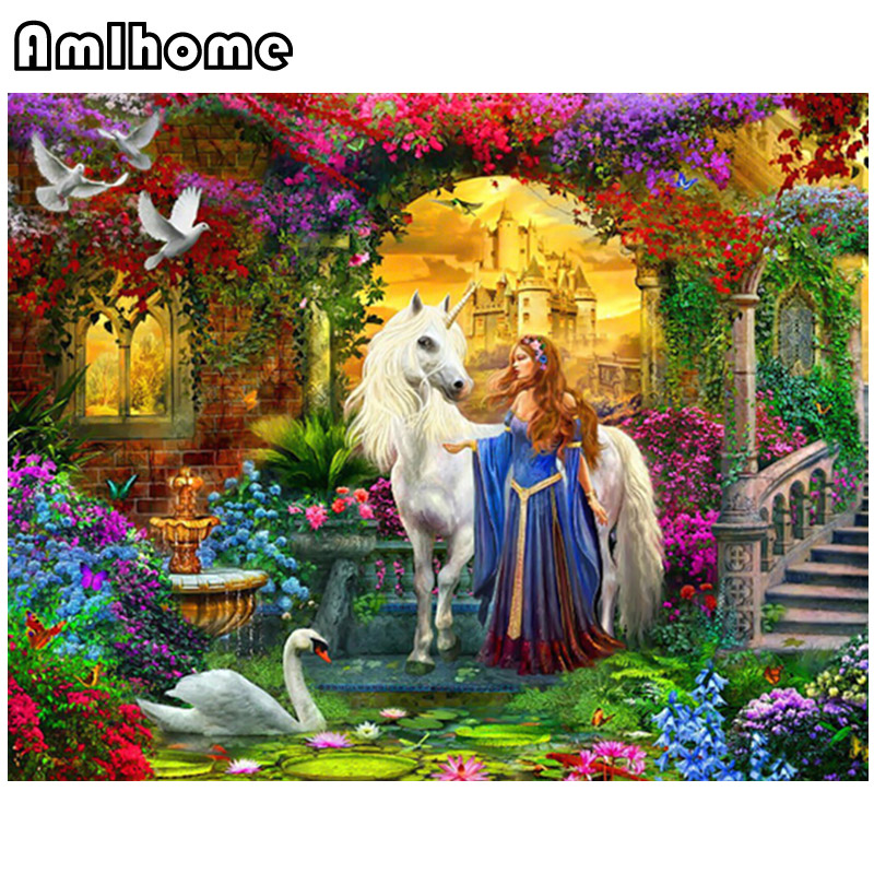AMLHOME New DIY Diamond Painting Princess And Horse Decorative Painting 100% Square Drill Full Diamond Embroidery Mosaic Crafts