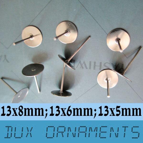 1000 pièces clous doreilles en acier chirurgical sans Nickel 5mm/6mm/8mm plaque pour cabochan (sans support)