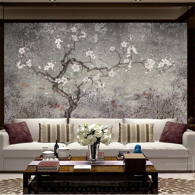 Beibehang Kundenspezifisches Foto Tapete Wandbild Neue Chinesische Hand  Blume Und Vogel Wohnzimmer Tapete 3d Vintage Pflaume