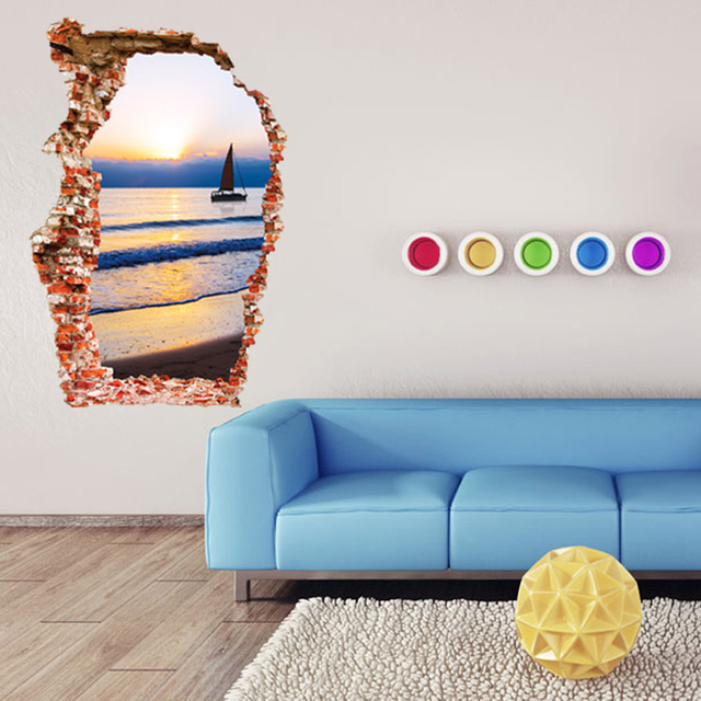 3d wall stickers seaside print wall poster art decals mordern fashion stickers livingroom home decor 2016