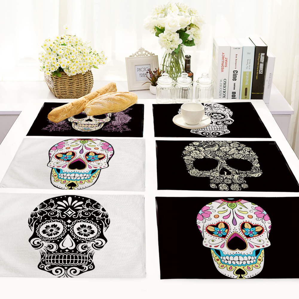 42*32cm skull Pattern Table Dinner Burlap Napkin Placemats For Wedding Party Home Decor Table Napkins MC0026