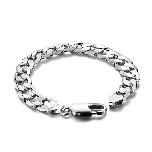 Hot sale!Men 925 sterling silver bracelet wide, 23 cm width 12 mm long solid silver bracelet: 925 silver men's jewelry