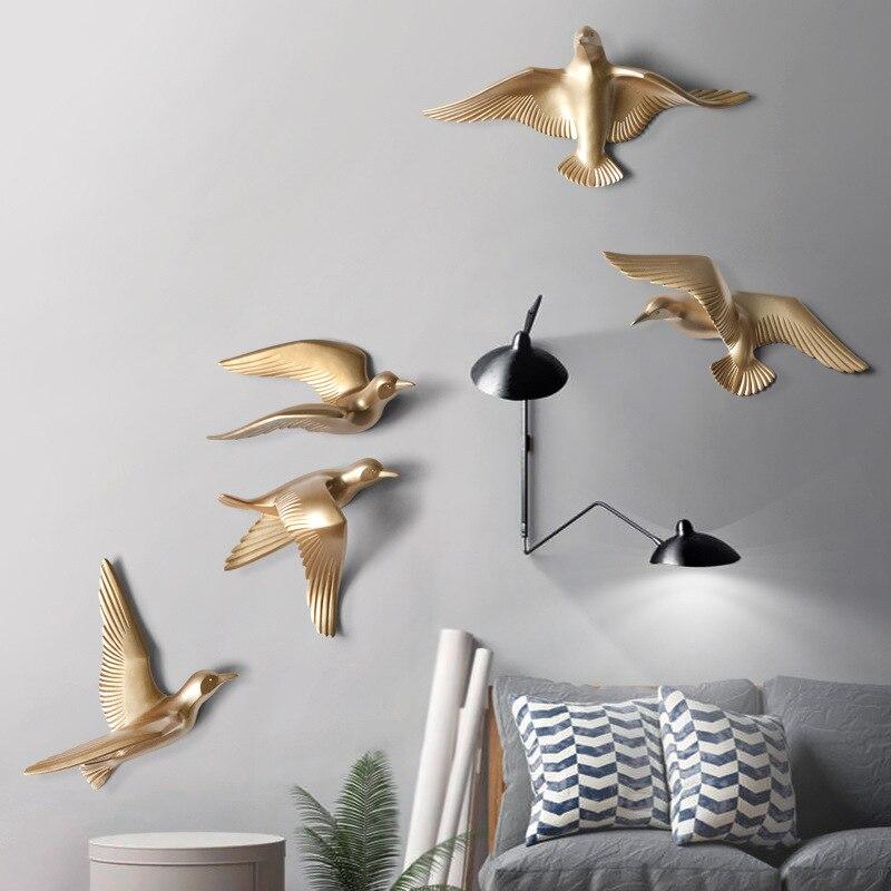 Европейский настенный светильник с птицами из смолы, украшение для дома, гостиной, дивана, телевизора, задний план, 3D настенная наклейка, Настенная роспись, орнамент, искусство - 6