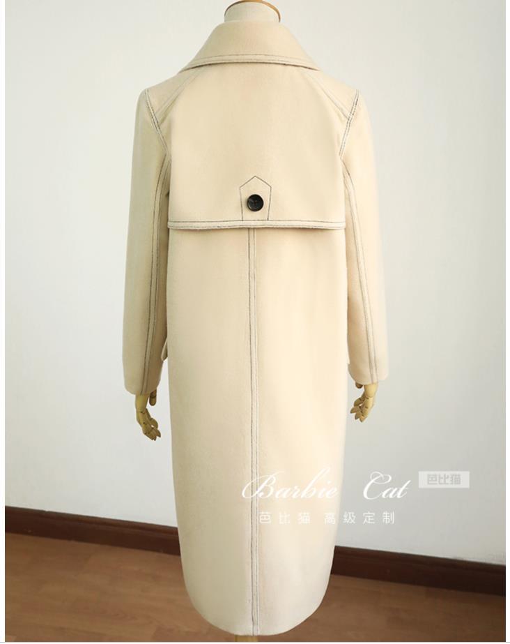 Mélanges Hiver Laine Femmes Vintage Automne Style Manteau Preppy De Mode Beige Long Lâche Pnqnxwd4A