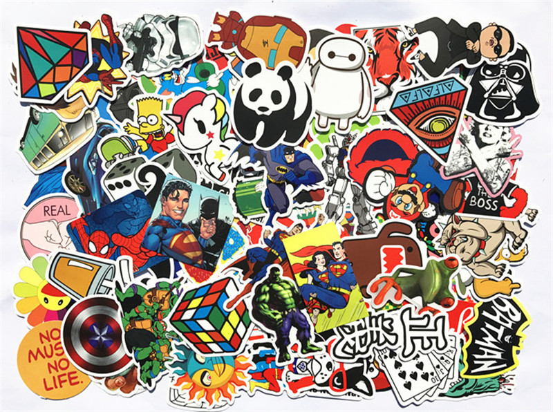 100pcs/lot DIY Fashion Trend Funny Doodle Kuso Culture Waterproof Colorized Decal Skin Sticker Toy For Laptop Luggage Phone Car.