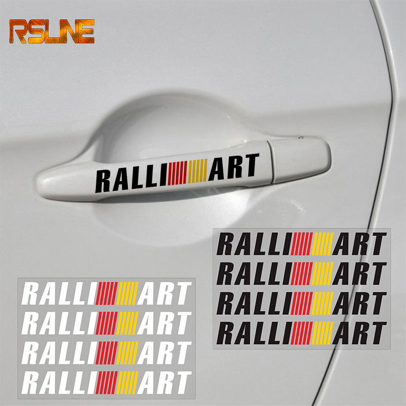 4pcs Car Door Handle Sticker Decal Sports Ralliart For Mitsubishi RalliArt Lancer Ralli Art 10 Asx Car Emblems Badge Car Styling
