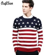 Neue Marke kleidung stern mode pullover männer gestreiften pullover 100% baumwolle kontrast farbe weihnachten pullover pull homme Sonne 920