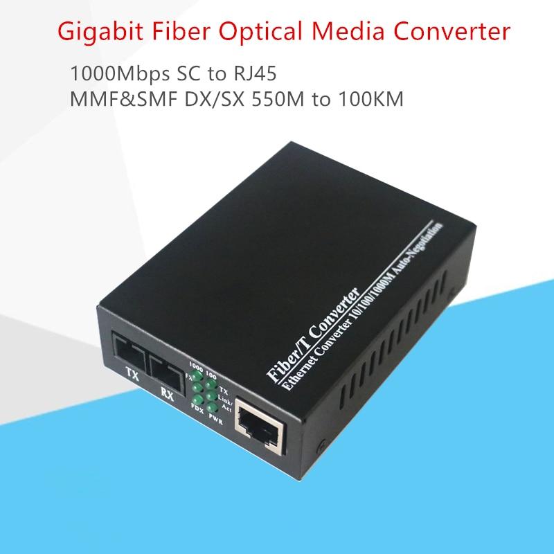 Gigabit Fiber Media Converter 10/100/1000Mbps Multimode Duplex Fiber Wavelength 850nm  SC to RJ45 Optical Transceiver Converter-in Fiber Optic Equipments from Cellphones & Telecommunications